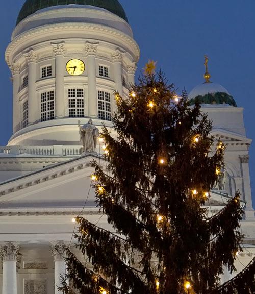 Joulukuusi Helsingin tuomiokirkon edustalla